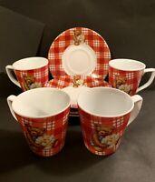 GNA Fine Porcelain Demitasse Espresso Cup and Saucer Set of 4 Teddy Bears