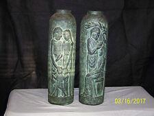 Pair of Art Deco Tall Art Pottery Floor Vases Marked Spain 475
