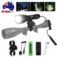 White Green LED Flashlight Torch  Hunting Coyote Hog Lamp Scope Gun Mount
