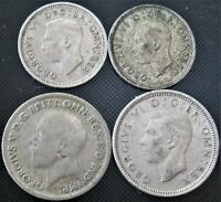 UK Great Britain 1930, 1943 - 6 Pence, 1938, 1941 3p   - 4 Silver Coins