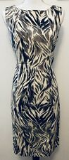 Talbots Sleeveless Animal Print Bodycon Dress Lined Black Cream Grey Size 8