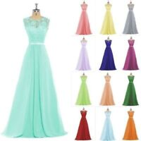 Stock Long Lace Formal Wedding Party Dresses Bridesmaid Evening Prom Ball Gown