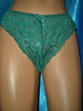 Pikantes Spitzen Nylon Höschen GRÜN Gr. M Nylonslip Spitzenslip Panty neu (K632)
