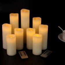 Luminara Flickering Moving Wick Flameless Pillar Candle Led Candles Remote Set 9