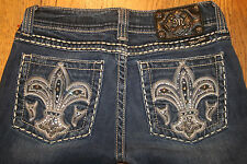 MISS ME Jeans  for Women 27 X 32 BLING EMBROIDERED FLEUR DE LIS ST# JP5073UL