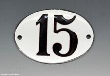 KLEINE...! ALTE EMAIL EMAILLE NUMMER 15 aus HOTEL ? um 1950...8 x 5,5 cm !!