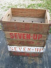 Vintage 5 pcs Original 7 UP Wood Carrier Box Crate