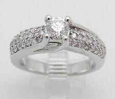 14K White Gold 1.00 ct Round Pave Set Diamond Engagement Ring Size 7 Natural