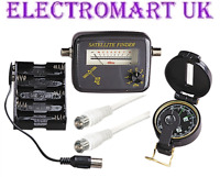 SAT SATELLITE SIGNAL FINDER ALIGNMENT KIT METER COMPASS CABLES BATTERY PACK