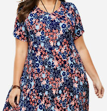 Ladies Navy Floral Dress Plus Size 22/24 26/28 30/32 34/36 38/40 42/44 46/48