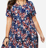 Ladies Long Navy Floral Dress Plus Size 22/24 26/28 34/36 46/48