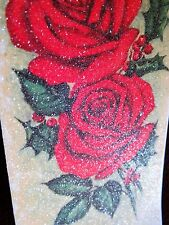 Vintage Christmas Card UNUSED To My Wife HEAVY Glitter Red Roses