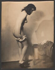 1930 -1940's original vintage photo of artist's undressing nude female model