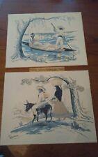 "Pair midcentury mexican folk print lithographs Ramirez 14x11"" gondola family"