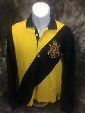 Ralph Lauren Long Sleeve Polo Women's Yellow/Navy L Great Vintage NYC Equestrian