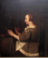 Ölgemälde Portrait Dame am Spiegel Altmeister Niederlande 18. Jahrhundert TOP