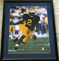Charles Woodson signed Michigan 16x20 photo framed inscribed Heisman 97 GTSM GAI