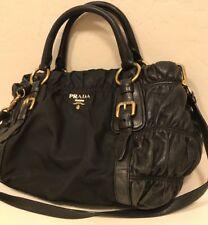 Authentic PRADA Black Nylon Nappa Gaufre Ruched Leather Shoulder Handbag
