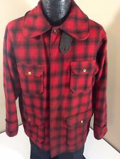 Vtg Woolrich Men Red Plaid MACKINAW Cruiser WOOL Coat HUNTING FIELD Jacket S/M