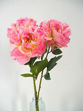 TOP  QUALITY ARTIFICIAL/ SILK FLOWERS  LARGE PINK PEONY    BUNCH OF  3 STEMS