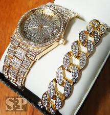 HIP HOP ICED GOLD PLATED LAB DIAMOND WATCH & CUBAN CHAIN BRACELET COMBO SET