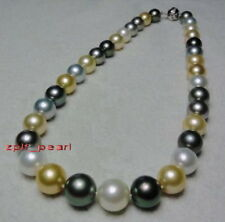 """AAAAA 20""""10-11mm round Natural REAL south sea Multicolor pearl necklace 14K gold"""
