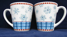 Sakura Debbie Mumm Snowflake Coffee Mugs Cups Winter Christmas StonewarLot of 2