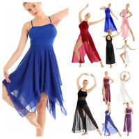 Women Girl Sleeveless Chiffon Maxi Dress Contemporary Lyrical Dance Party Dress