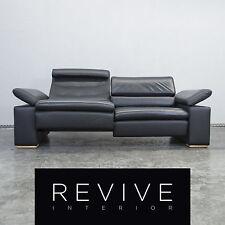 Designer Leder Sofa Schwarz Zweisitzer Echtleder Funktion Couch Modern #2355