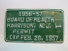 *Rare 1956-57 BOARD of HEALTH Permit License Plate Harrison New Jersey NJ food
