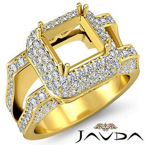 Pave Diamond Engagement Filigree Ring 1.75Ct 14k Yellow Gold Princess Semi Mount