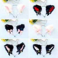 Fluffy Cat Ear Cosplay Costume With Bell Headband Furry Costume Party Supply