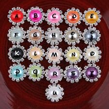 Bling Round Decorative Flatback Crystal Pearl Metal Rhinestone Buttons 30PCS