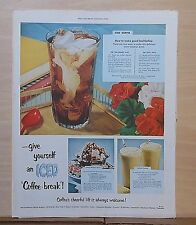 1953 magazine ad for Coffee - Give Yourself an Iced Coffee Break, recipes