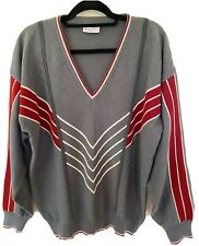 Gabicci Grey Red & Ivory Chevron Wool Blend Jumper Pullover Size Large