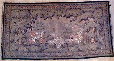 Tapisserie AUBUSSON XIX animalière oiseaux château verdure fleurs 19th