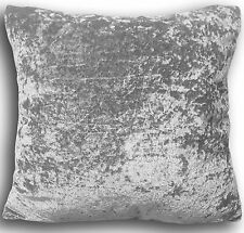 "Cushions Set of 4 Crushed Velvet Silver Velvet Cushion and covers filled 17""x17"""
