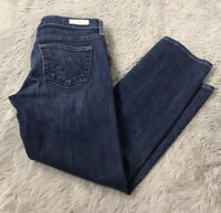 AG Adriano Goldschmied Dark Wash Relaxed Straight Tomboy Crop Jeans Women's 25