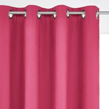 SCENARIO Cotton Blackout Curtain with Eyelet Header in Raspberry - 180cm drop