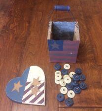Primitive wood painted Americana Box Red White Blue Stars Heart 22 tic tac toe