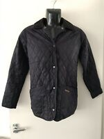 BARBOUR Heritage Liddesdale Quilted Jacket Sz 8 Dark Navy Blue Womens EXC. COND