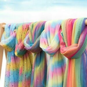 2M Rainbow Mesh Fabric Gradient Color Tulle Tutu Skirt Dresses Background