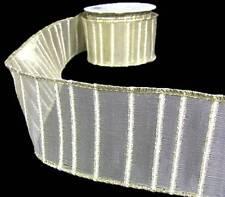"5 Yds Metallic Gold White Striped Semi Sheer Mesh Wired Ribbon 2 1/2""W"