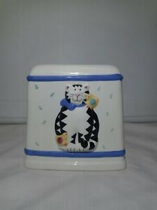 TISSUE BOX COVER HOLDER Kitty Cat With Bird CERAMIC CoCo Dowley VINTAGE VTG