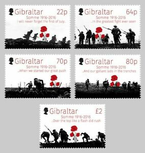WWI Battle of the Somme Anniversary MNH FV £4.36 Stamp Set (2016 Gibraltar)