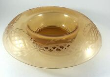 Art Deco Fostoria Rosy Amber Rolled Edge Console Bowl Floral Geometric