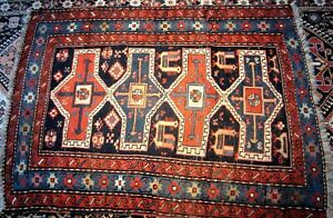 Vintage Tribal Rug  Caucasian Kazak Design Carpet