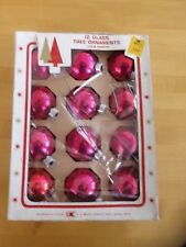 Vintage 12 Glass Tree Ornaments Bright & Shiny Luster Pink Fuschia Feather Tree