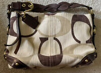 Coach 12197 Carly Tonal Signature Cream Brown Canvas with Brown Leather Hobo Bag