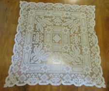 """lot 2 Vintage Handmade Filet Lace Tablecloth 64 x 76"""" and 39"""" Square Topper"""